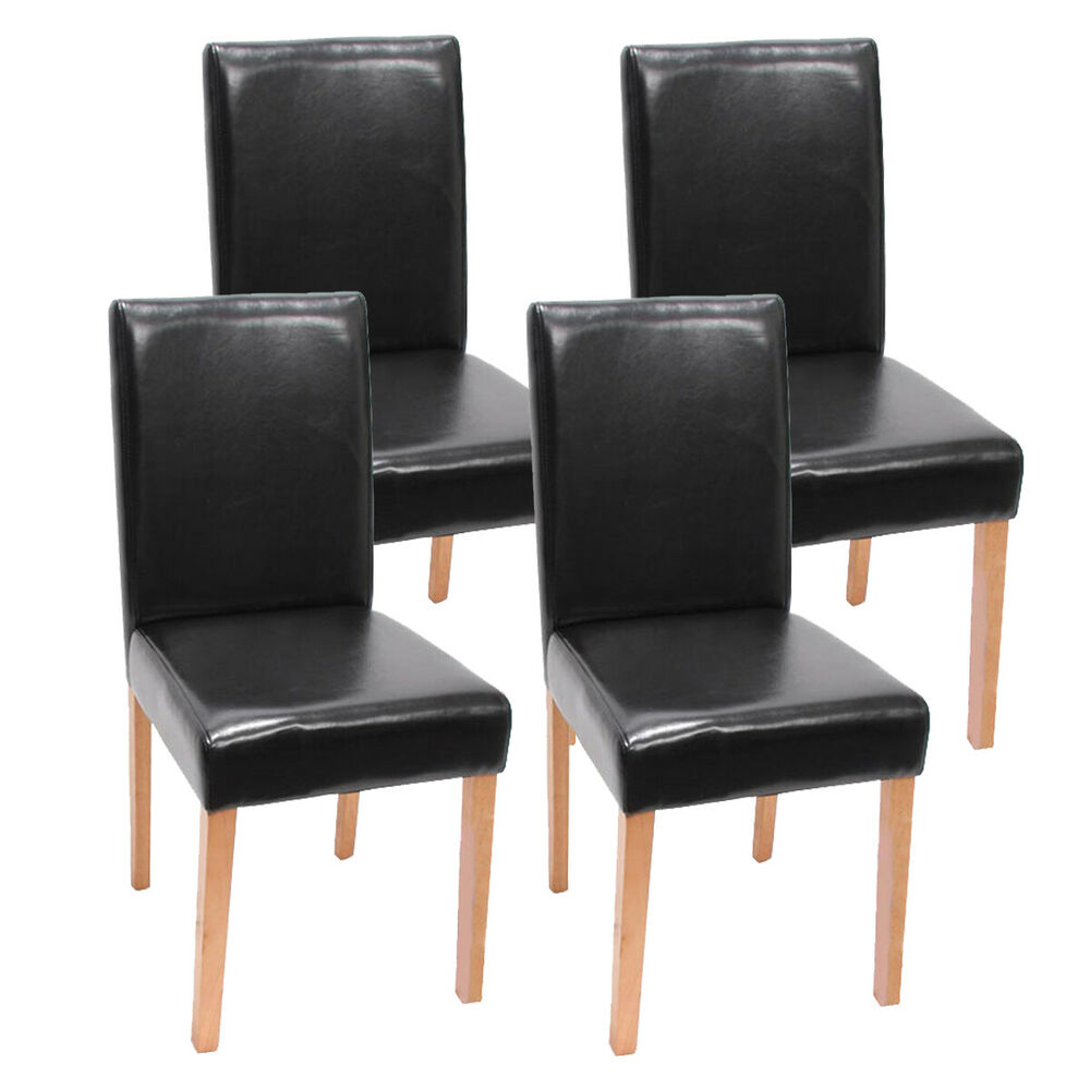 4x esszimmerstuhl stuhl lehnstuhl littau kunstleder schwarz helle beine ebay. Black Bedroom Furniture Sets. Home Design Ideas