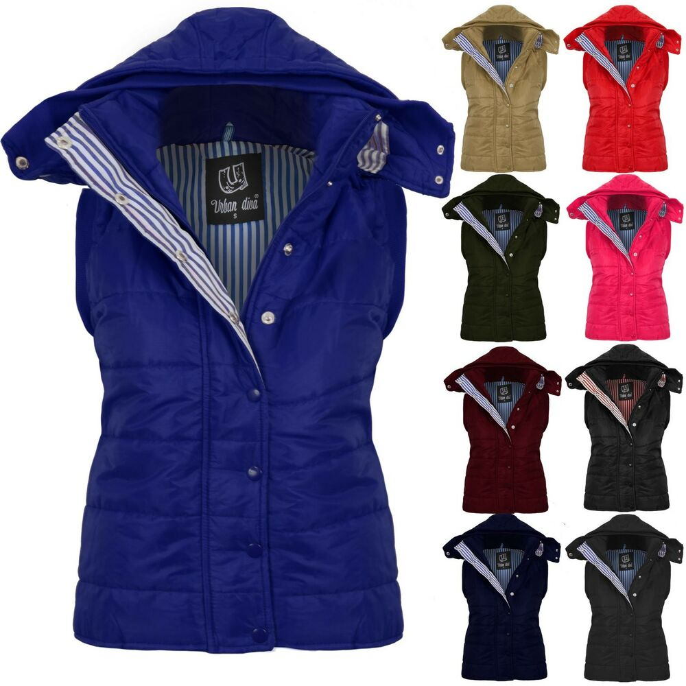 Womens Hooded Sleevless Quilted Ladies Body Warmer Jacket