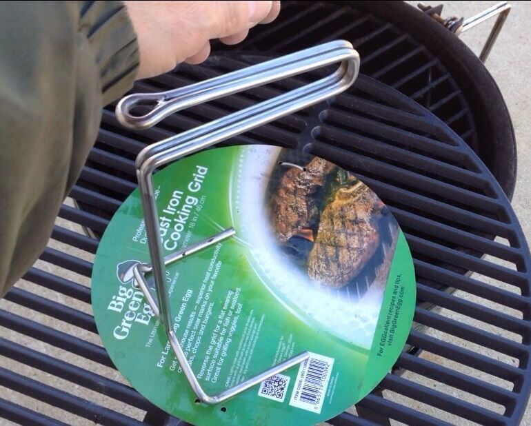 stainless steel ott grid grill lifter tool 1 4 ss big green egg kamado usa made ebay. Black Bedroom Furniture Sets. Home Design Ideas