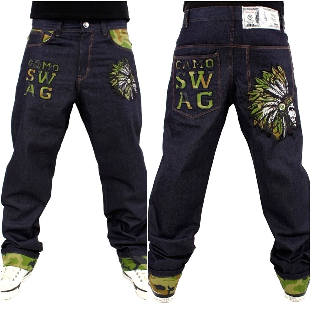 Dirty Money mens baggy camouflage jeans, urban hip hop ...