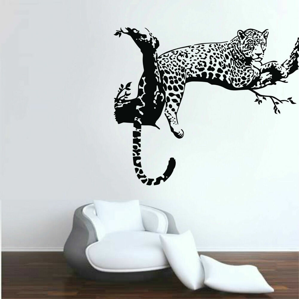 leopard animals wall stickers vinyl wall decals kids room home decor removable ebay. Black Bedroom Furniture Sets. Home Design Ideas