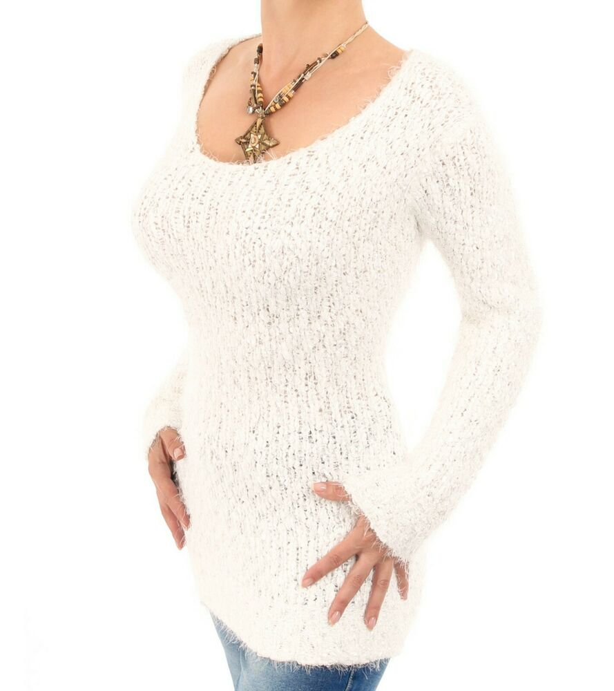 New Navy or Ivory Scoop Neck Chunky Knit Jumper - Long Sleeve eBay