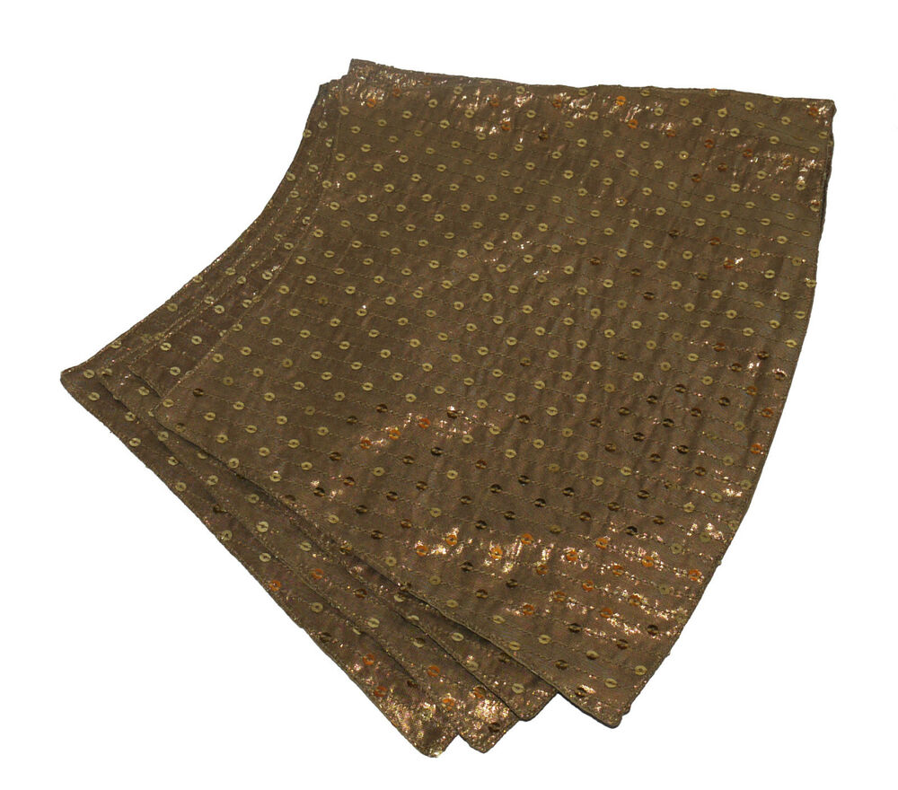 Gold sequin table linens set 4 x shaped placemats and 1 for Table placemats