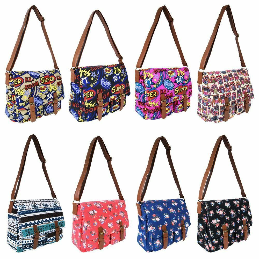 Waterproof Messenger Bag >> Ladies Girls Canvas Shoulder Satchel School Cross Body Messenger Handbag Bag | eBay