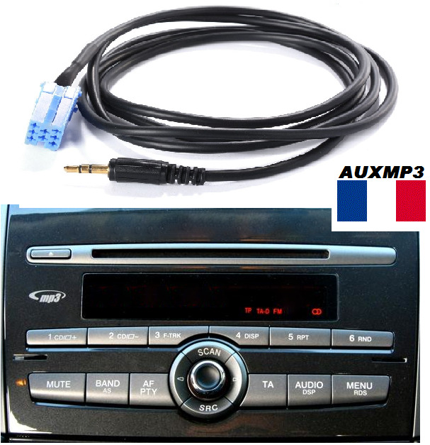 cable auxiliaire aux pour brancher sur autoradio fiat bravo 2010 ipod mp3 ebay. Black Bedroom Furniture Sets. Home Design Ideas