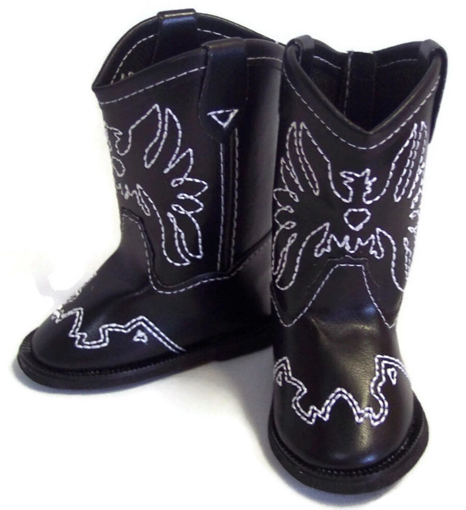 black w eagle accent cowboy boot shoes made for 18