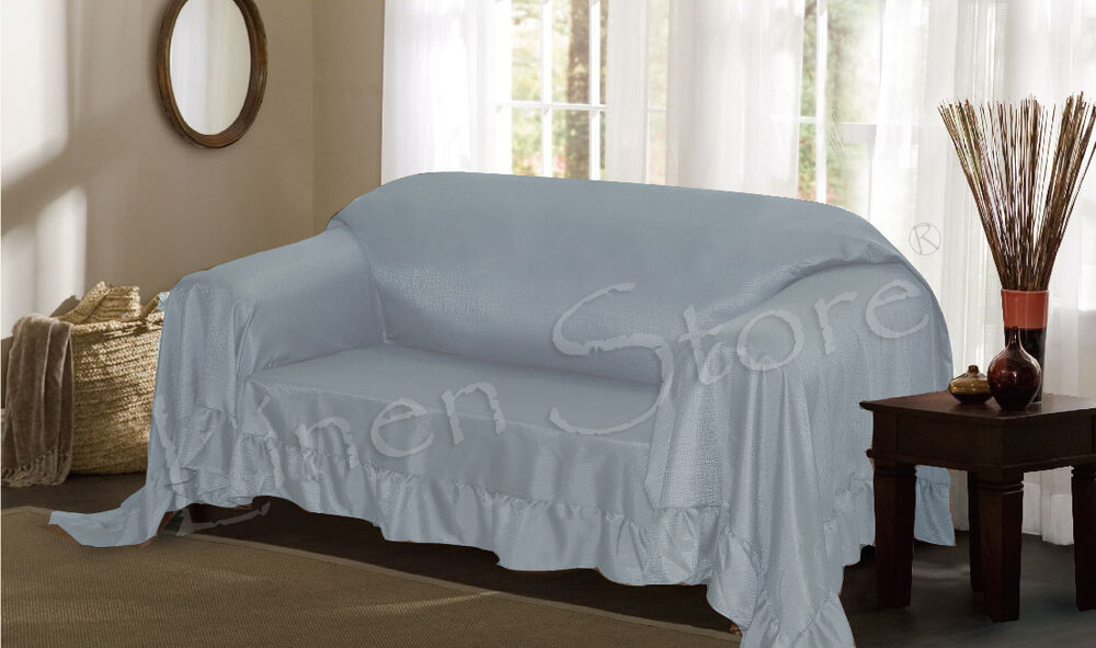 Aqua Venice Furniture Throw Cover Fancy Ruffle Border