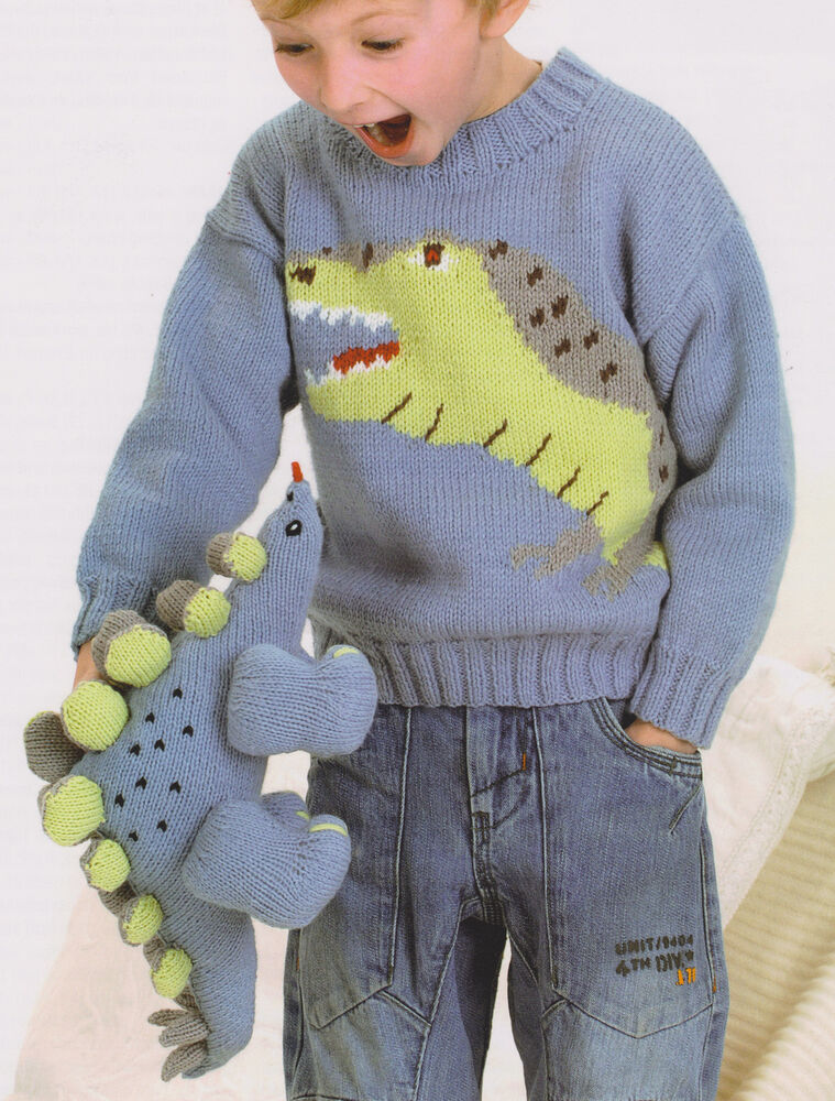 Baby Dinosaur Knitting Pattern : Baby Childrens Dinosaur Stegosaurus Sweater & Toy 22 - 30