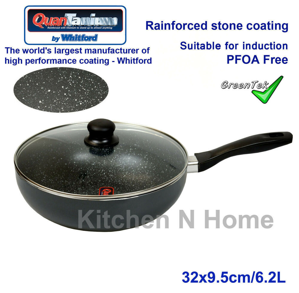 Non Stick Wok With Lid Marble Stone Coated Induction Pan