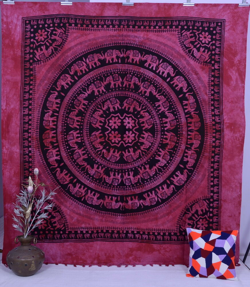 Indian Elephant Mandala Tapestry Boho Gypsy Wall Hanging