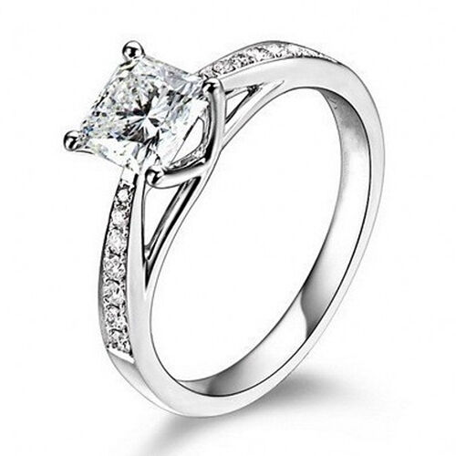 sterling silver cubic zirconia cz solitaire promise womens engagement ring ebay. Black Bedroom Furniture Sets. Home Design Ideas