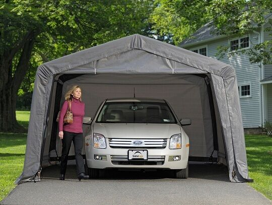 Portable Carport With Shed : Shelterlogic auto shelter portable garage steel