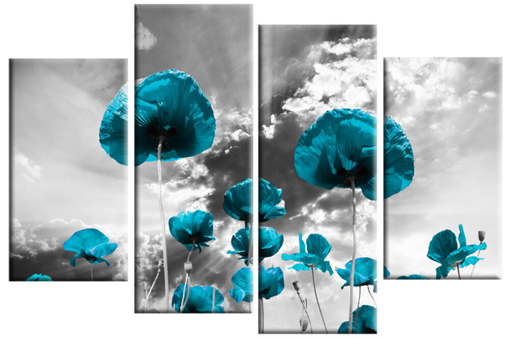 Turquoise Poppies Grey Floral Canvas Picture 4 Panel Split