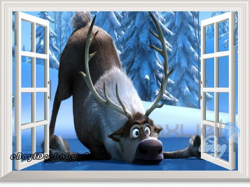 Disney Frozen Elsa Moose Sven 3d Window Wall Decals