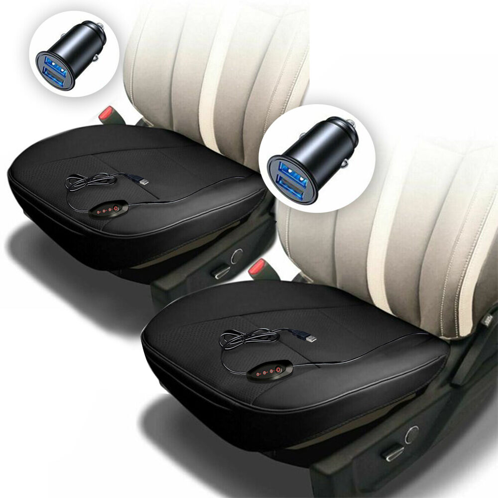 zone tech 12v 2x heated car seat chair cushion cover pad 1 integrated plug ebay. Black Bedroom Furniture Sets. Home Design Ideas