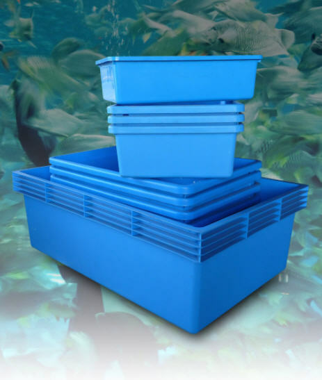 Classica blue plastic polyethylene aquarium pond fish for Acrylic vs glass fish tank