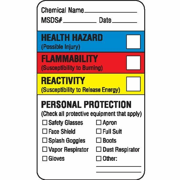 This is a photo of Soft Health Flammability Reactivity Labels