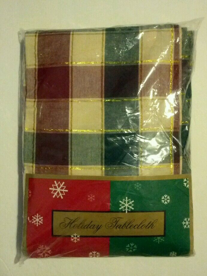 Christmas Holiday Tablecloth 60 X 84 Oblong Table Cotton