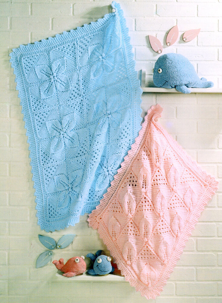 Knitting Pattern For Leaf Design Baby Blanket : Chunky Wool Pram & Cot Baby Blankets Leaf Panel Knitting Pattern eBay