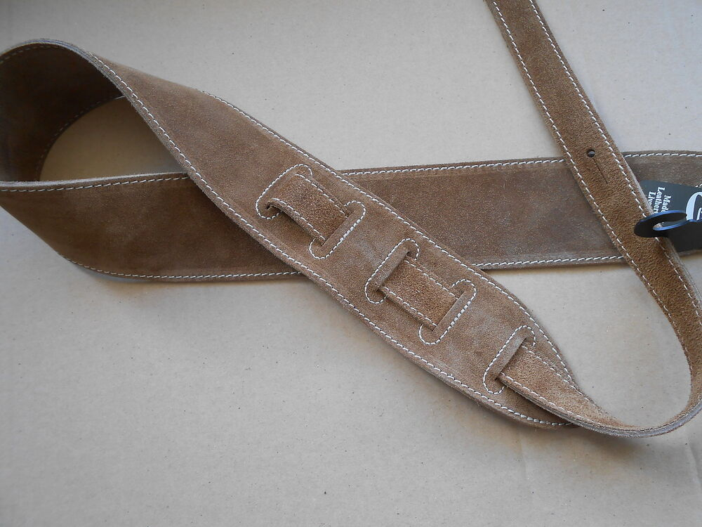 uk made tan genuine suede leather comfy acoustic electric or bass guitar strap ebay. Black Bedroom Furniture Sets. Home Design Ideas