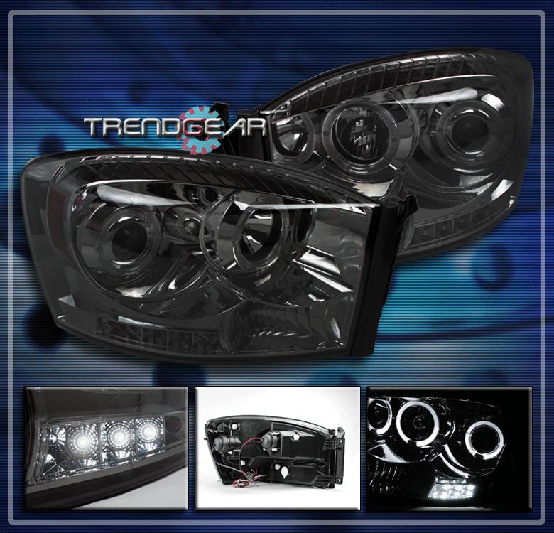 2006 2009 dodge ram halo led projector headlights smoke. Black Bedroom Furniture Sets. Home Design Ideas