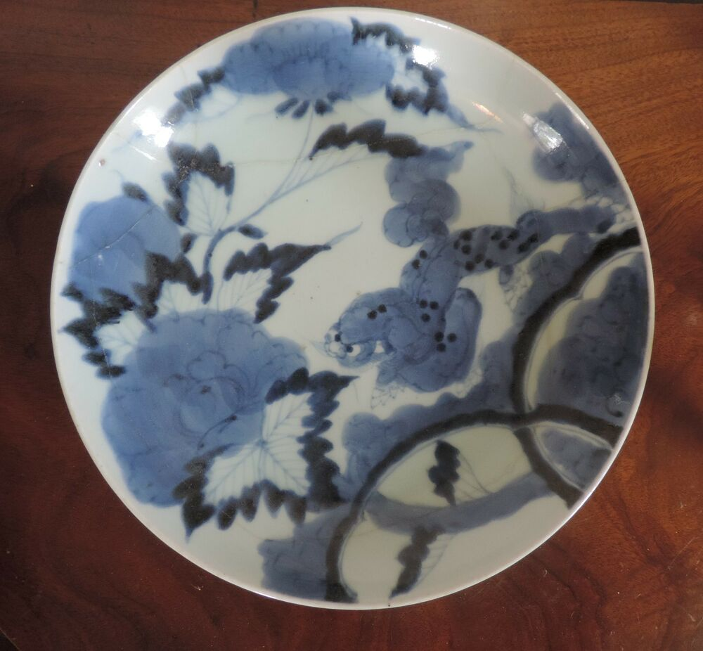 antique chinese porcelain charger plate platter blue and white bat 19th c  bowl
