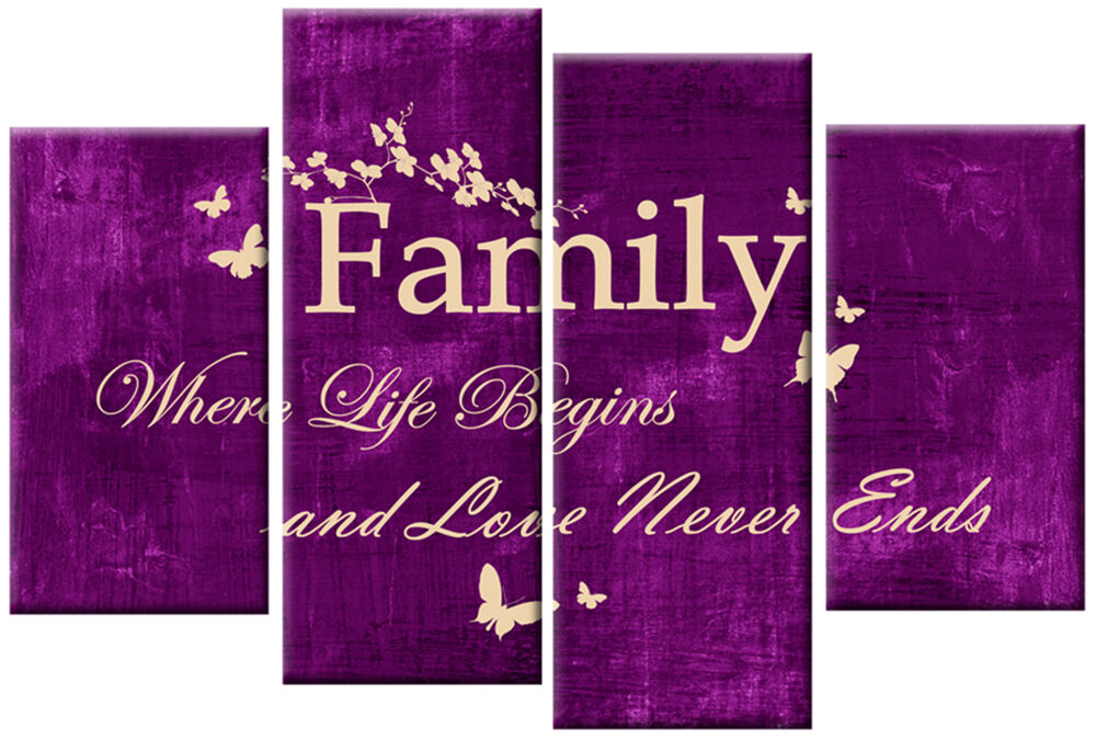 purple cream canvas family quote writing picture 4 panel split wall art 100cm ebay. Black Bedroom Furniture Sets. Home Design Ideas