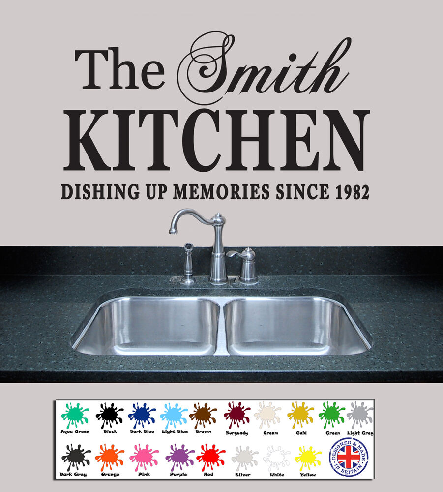 Personalised Family Name Kitchen Wall Sticker Art Quote