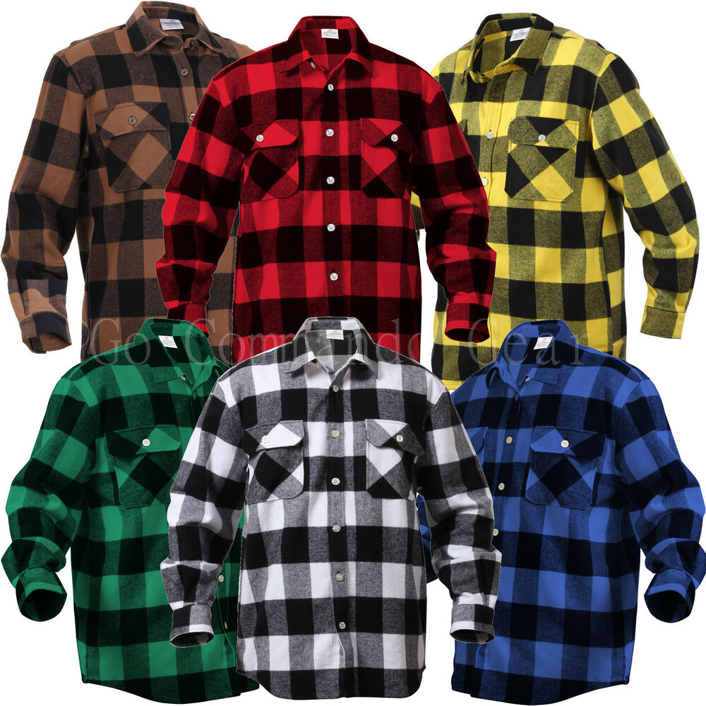 Extra Heavyweight Brawny Buffalo Plaid Flannel Shirt Long