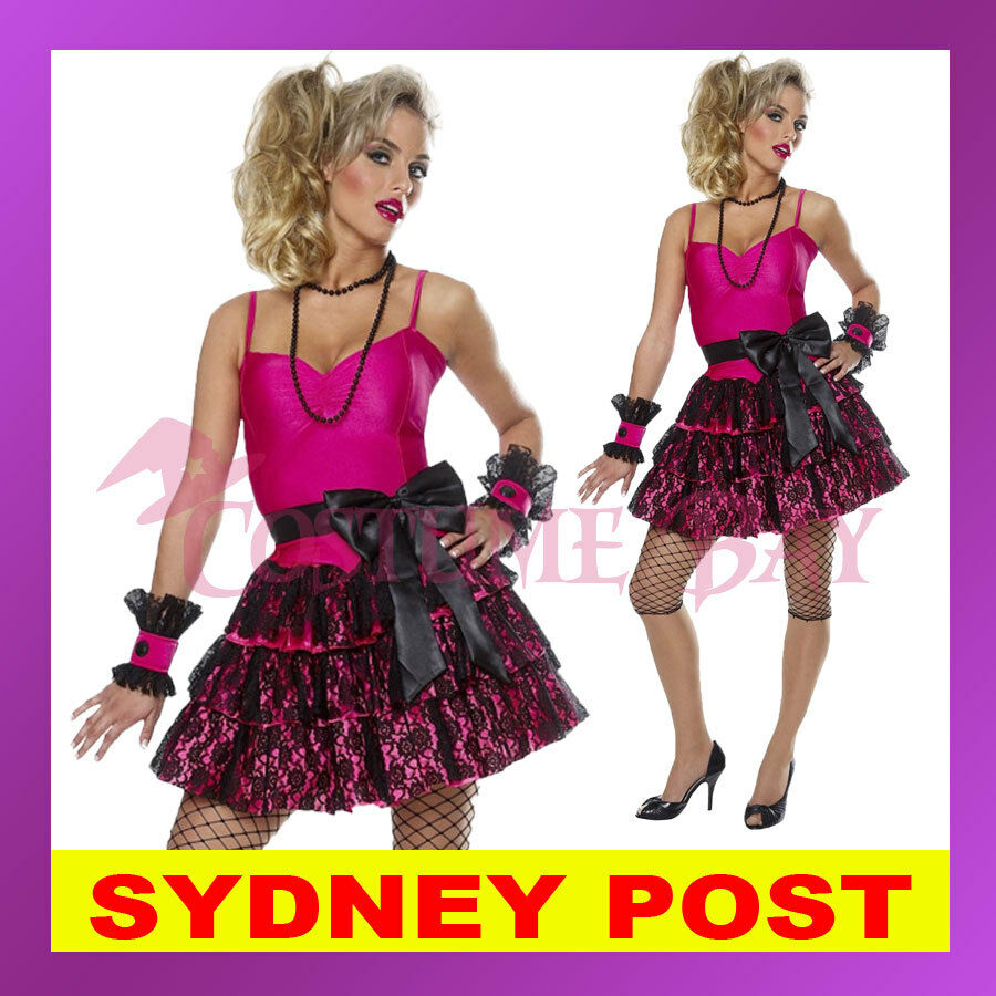 80s Madonna Pop Star Diva Cyndi Lauper Material Girl Dress Up Hens Party  Costume  0aaed389c212
