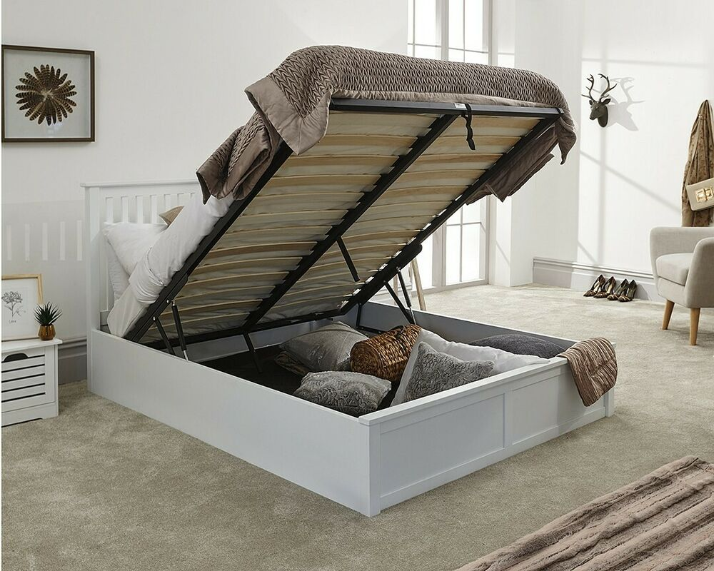 White Or Oak Wooden Ottoman Storage Bed Double Or Kingsize With Mattress Options Ebay