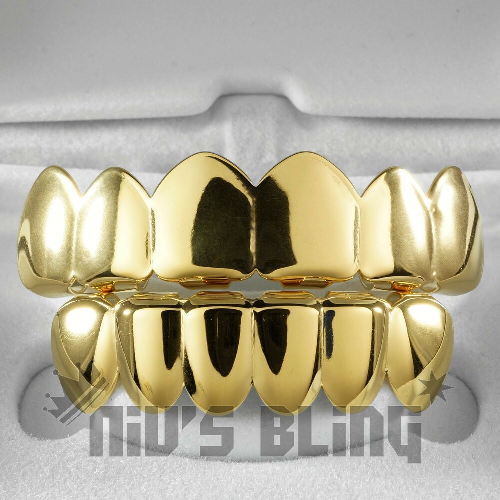 18K Gold IP Plated GRILLZ Top & Bottom Mouth Teeth Hip Hop ...
