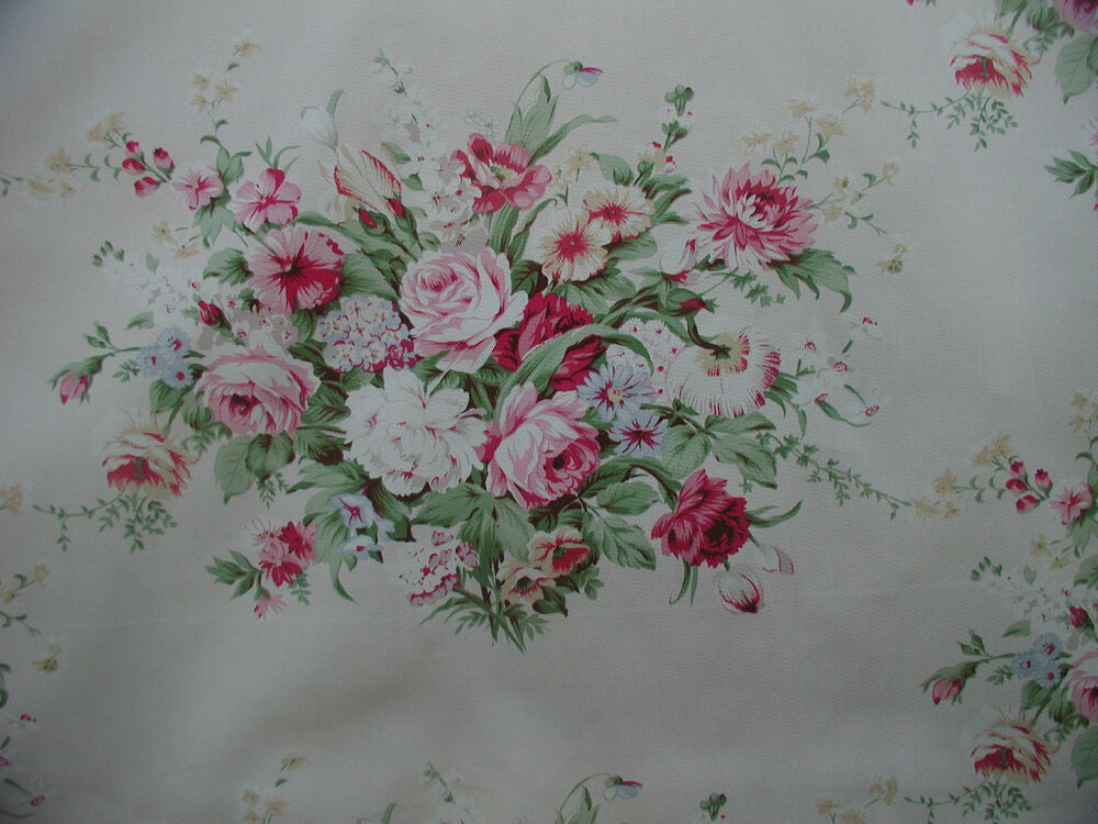 American Folk Fabric Ashley Raspberry Pink Roses