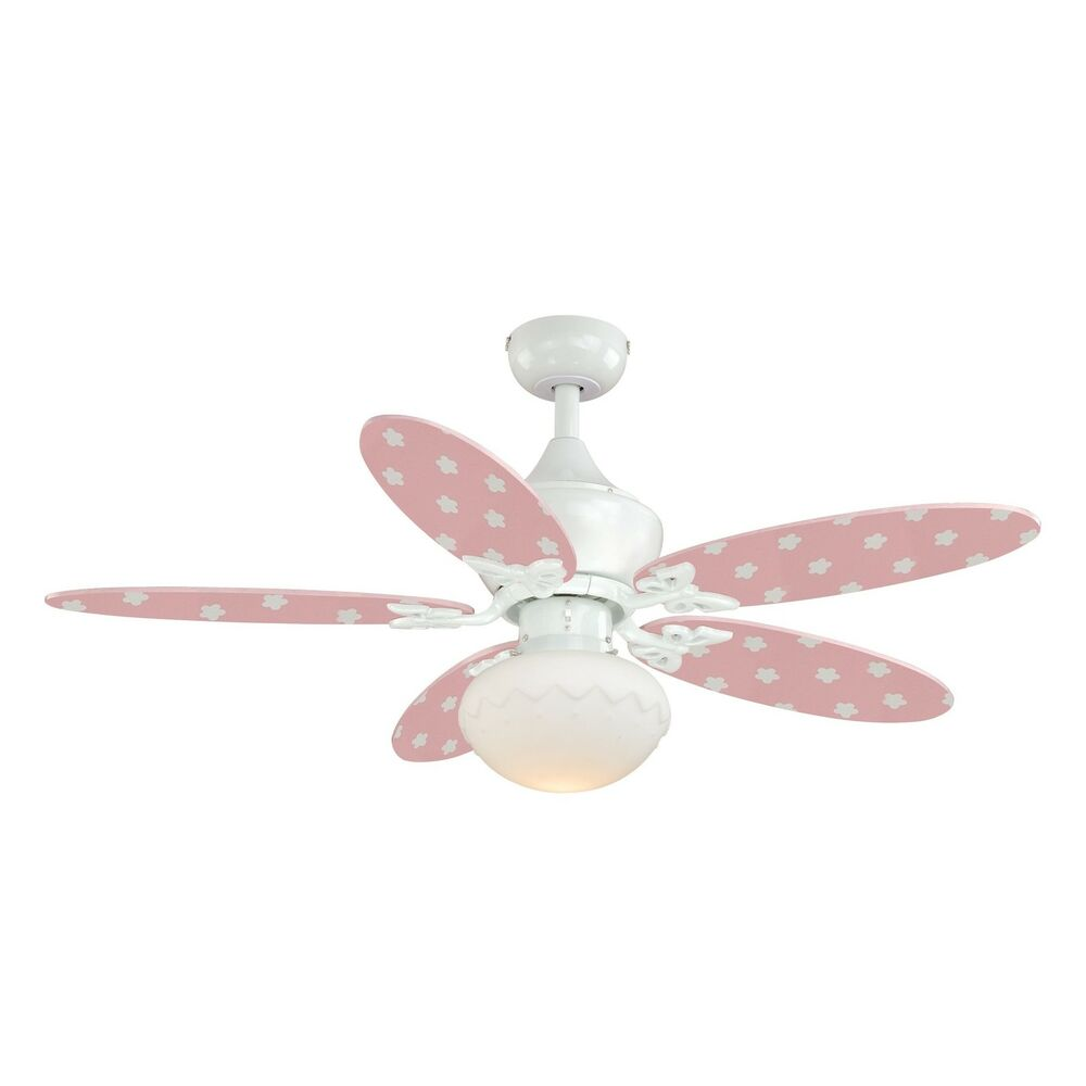 44 inch Girls/Baby's Room Pink & White Ceiling Fan with ...