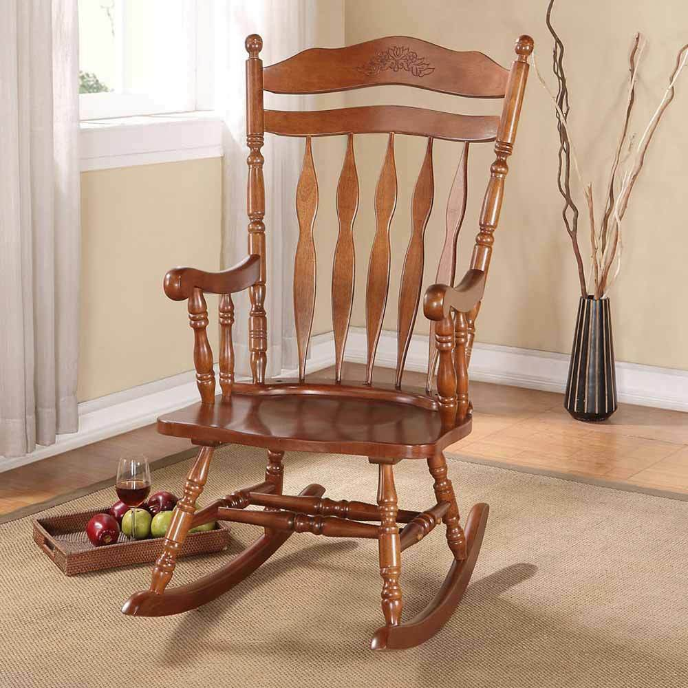 ... Transitional Living Room Rocking Chair Wood in Dark Walnut  eBay