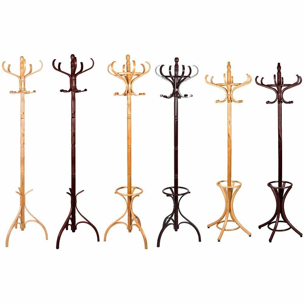 Coat Stands Wood Floor Standing Clothes Jacket Hat Rack