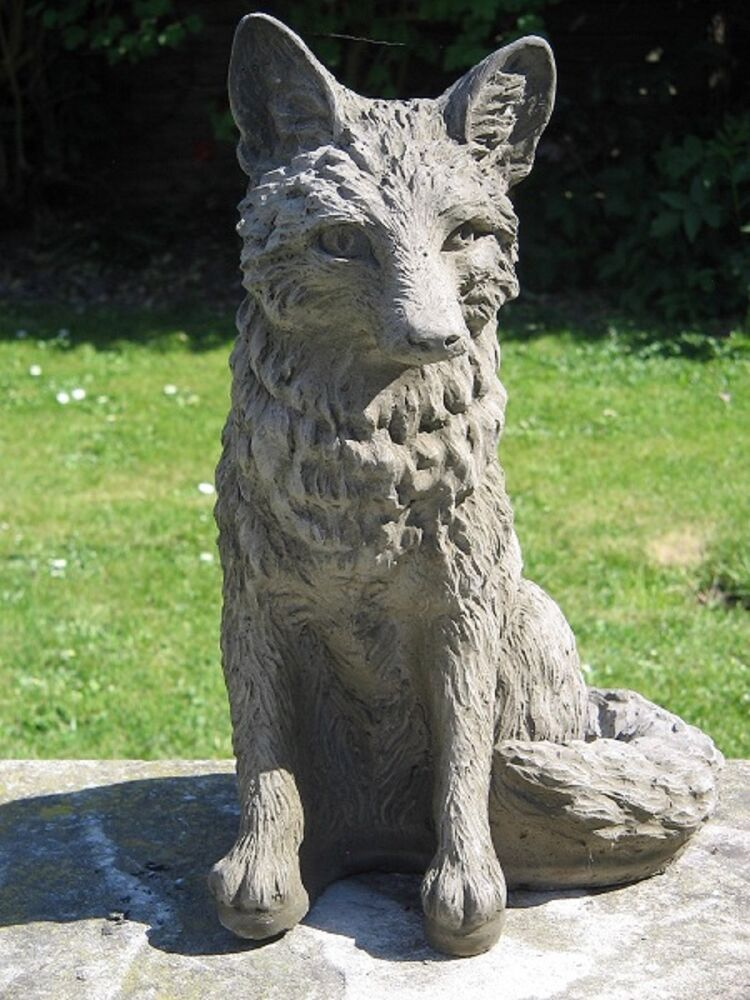 Granite Lawn Ornaments : Stone fox garden statue ebay