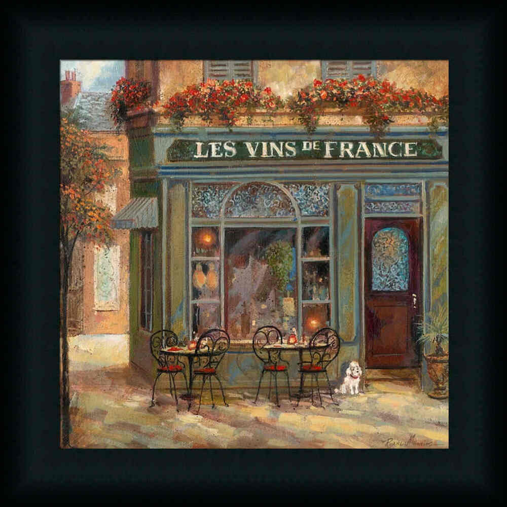Wine shop by ruane manning french caf framed art print for Wine shop decoration