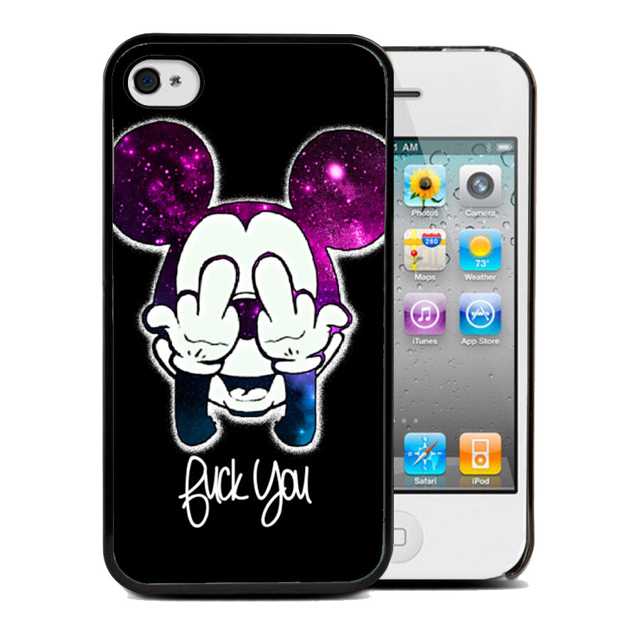 coque housse iphone 4 4s 5 5s 6 mickey swag walt disney fuck case tpu ebay. Black Bedroom Furniture Sets. Home Design Ideas