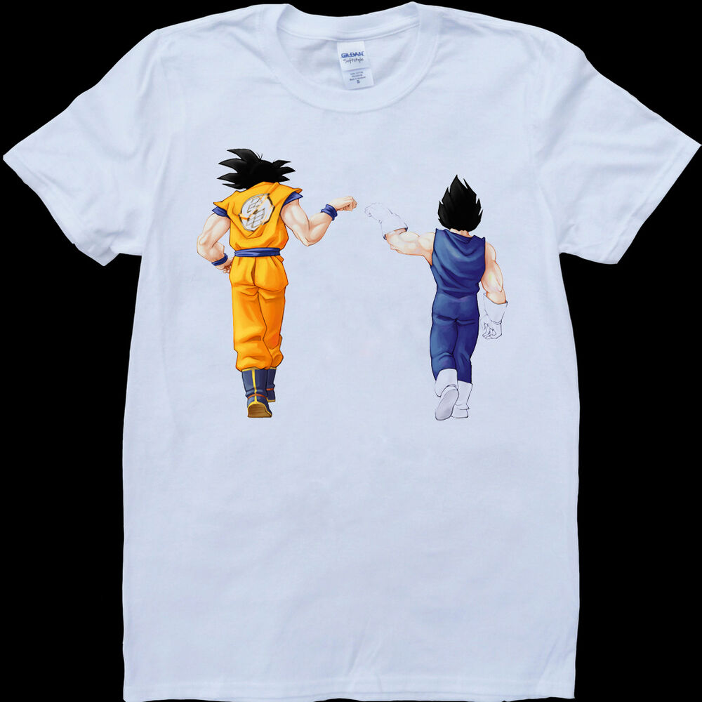 dragon ball z son goku and vegeta men 39 s white custom made t shirt ebay. Black Bedroom Furniture Sets. Home Design Ideas