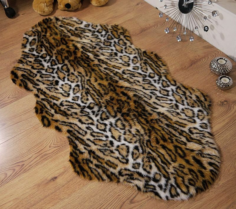 Jaguar Animal Print Faux Fur Double Sheepskin Style Rug 70