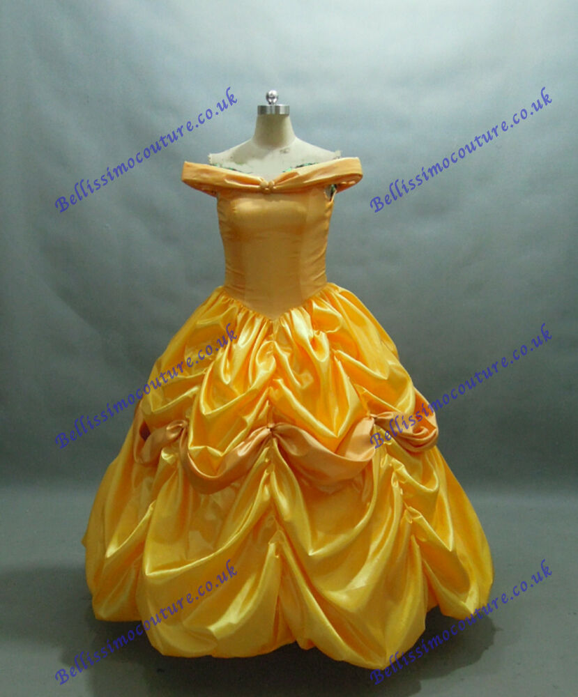 Disney robe belle et la b te costume de belle taille adulte 34 44 jaune ebay - Robe disney adulte ...