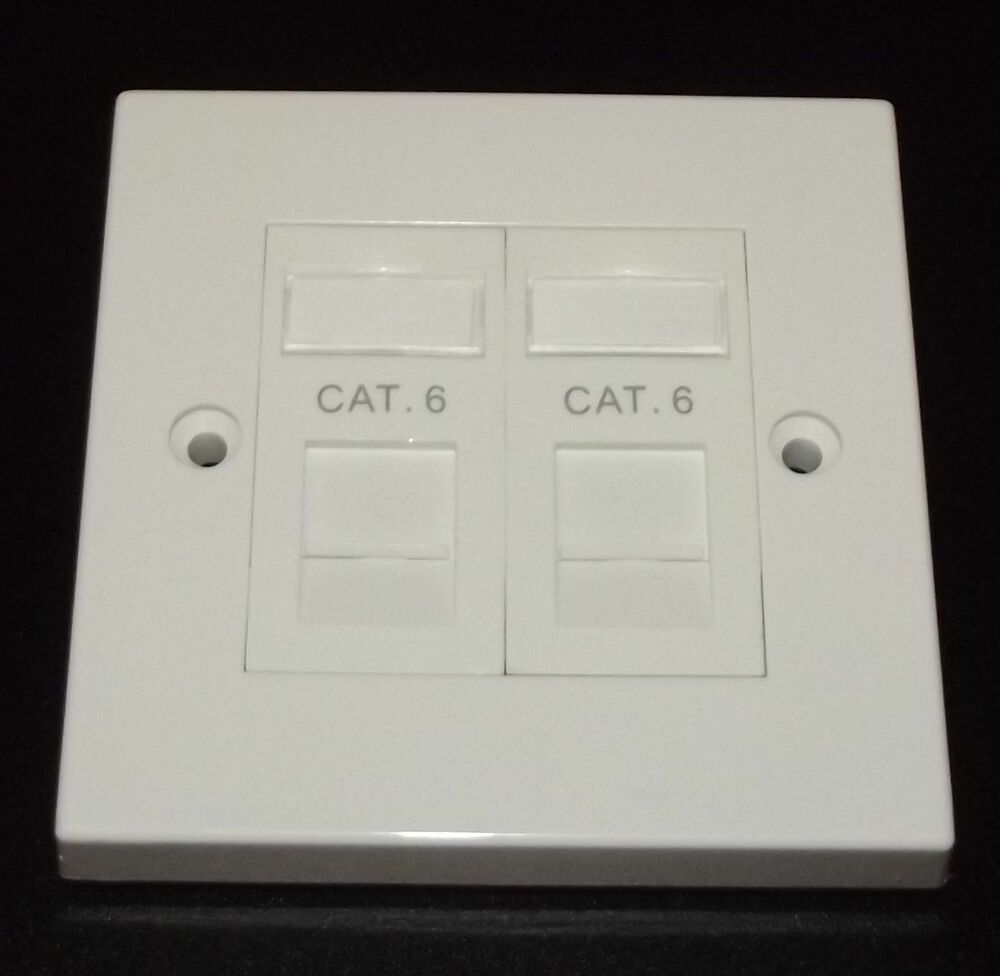 Cat6 RJ45 Double Face Plate Gigabit Ethernet Network 2