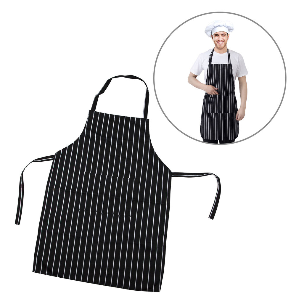 trixes professional kitchen chef cooking apron black white stripe ebay. Black Bedroom Furniture Sets. Home Design Ideas