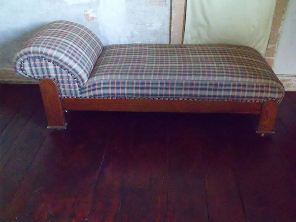 Antique mission arts and crafts oak chaise longue fainting for Antique chaise longue ebay