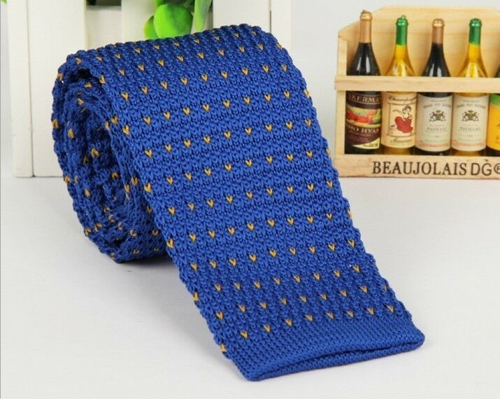 Knit Necktie Pattern : Mens Blue Pattern Knit Tie Knitted Tie Necktie Narrow Slim Skinny Wove Z...