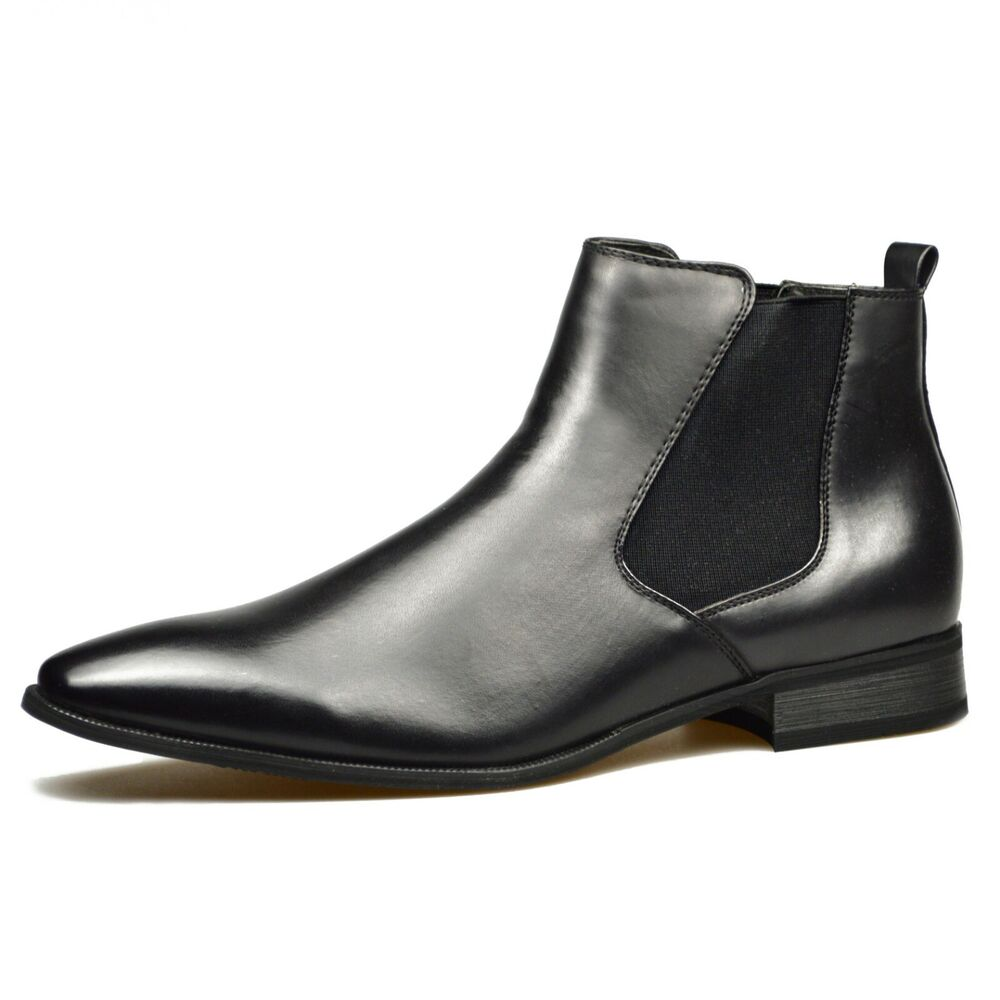 mens black leather smart formal casual chelsea boots shoes