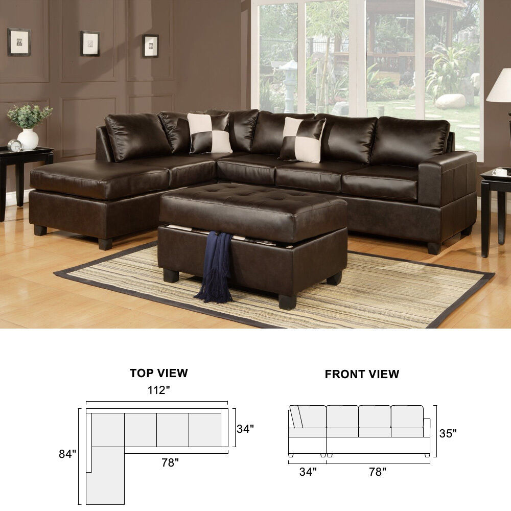 3pcs sectional sofa reversible chaise w ottoman bonded for Leather living room sets
