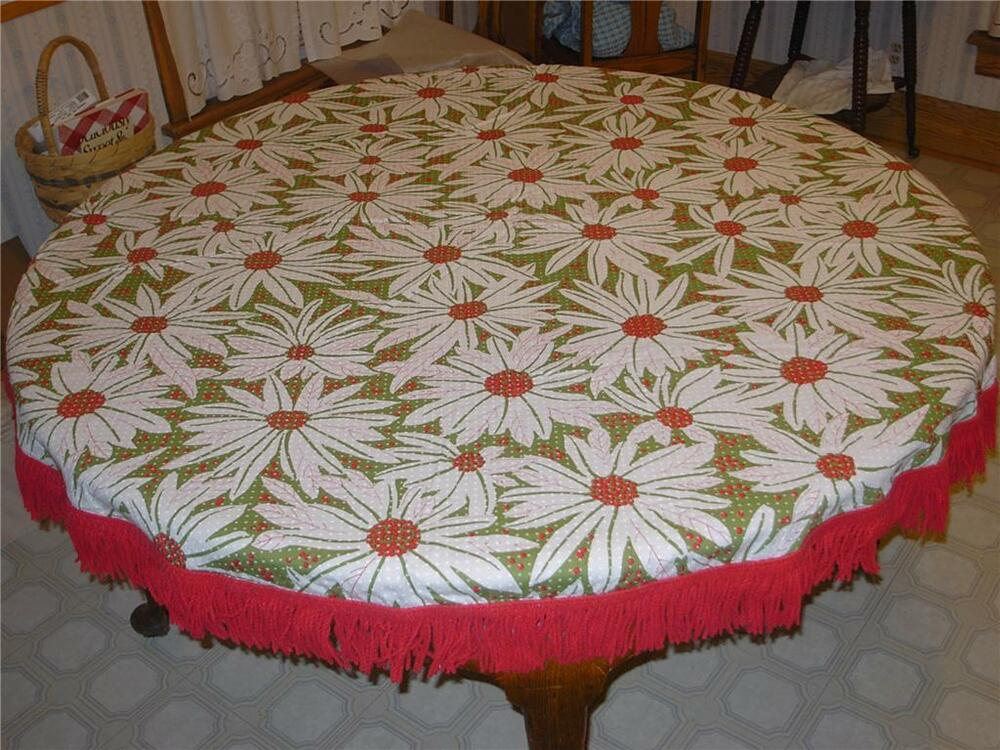 Vintage Round Poinsettia Christmas Tablecloth Very Ladybug ...