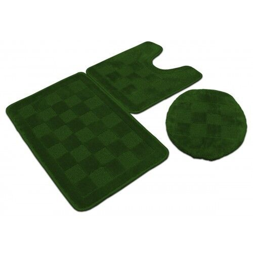 3 piece solid olive green bathroom set bath mat contour lid cover